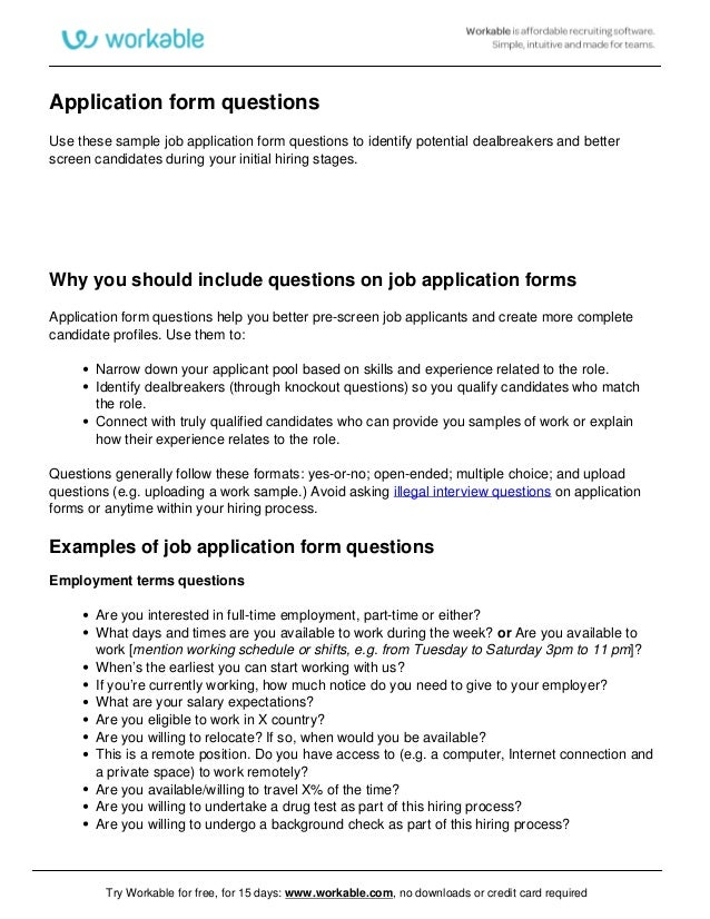 Job Application Form Questions  Workable