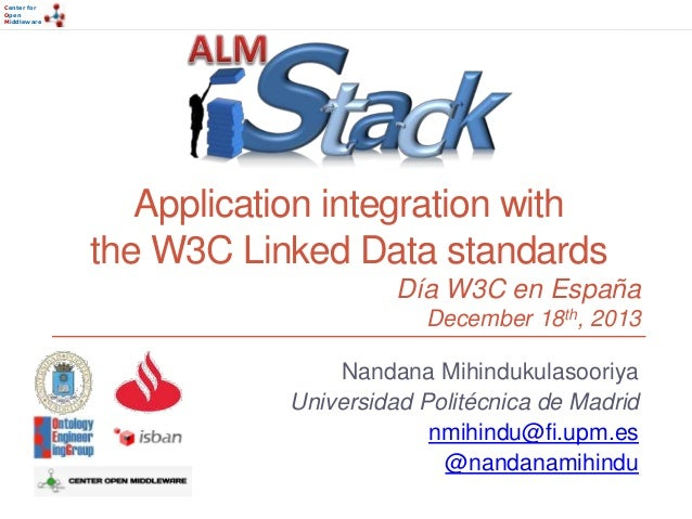 Center for Open Middleware  Application integration with the W3C Linked Data standards Día W3C en España December 18th, 20...