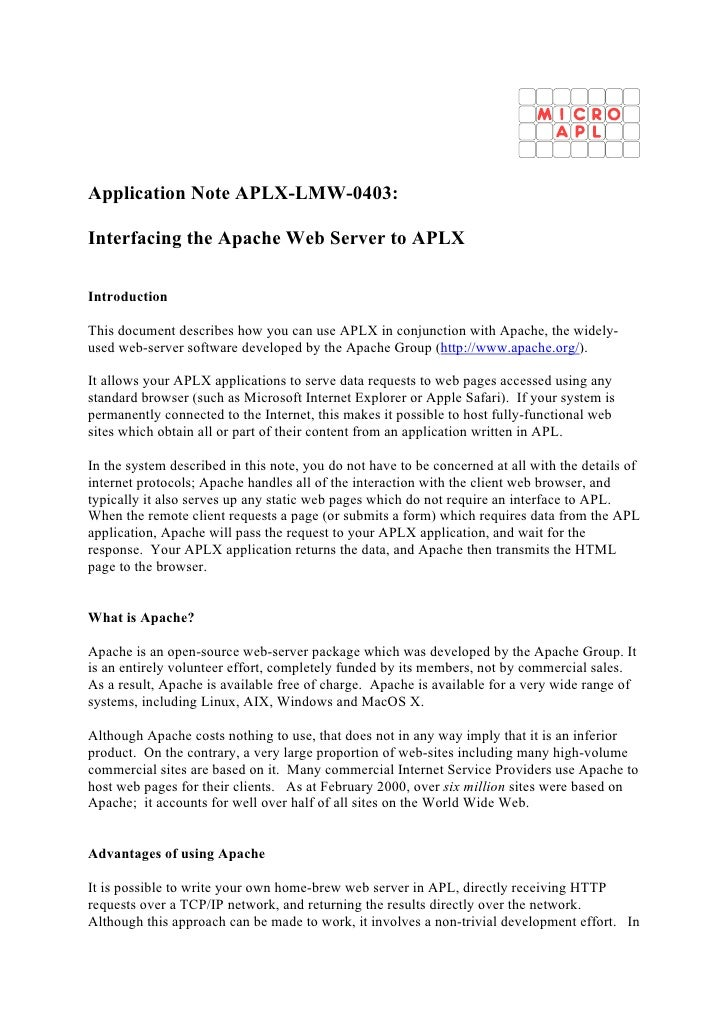 Application Note APLX-LMW-0403:  Interfacing the Apache Web Server to APLX  Introduction  This document describes how you ...