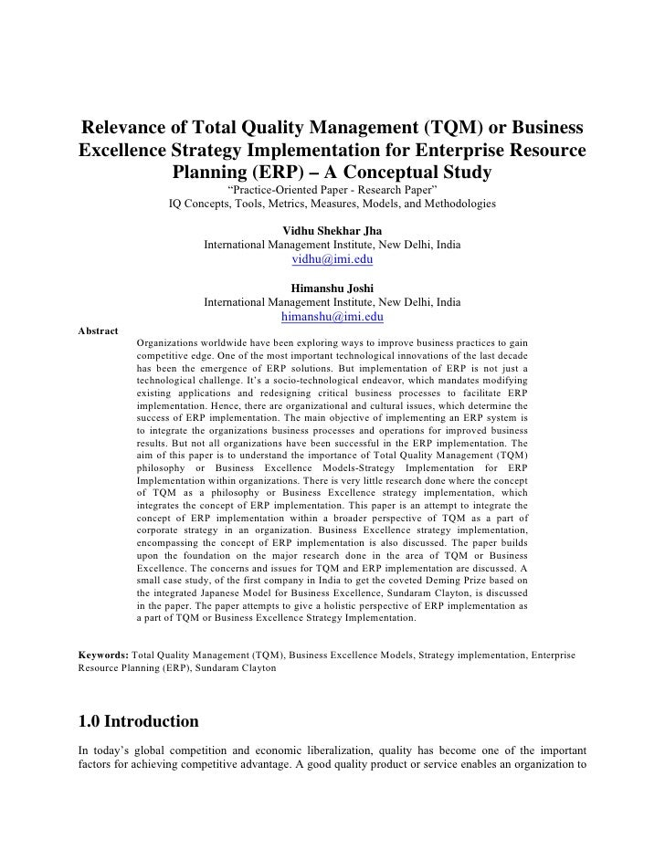 Relevance of Total Quality Management (TQM) or BusinessExcellence Strategy Implementation for Enterprise Resource         ...