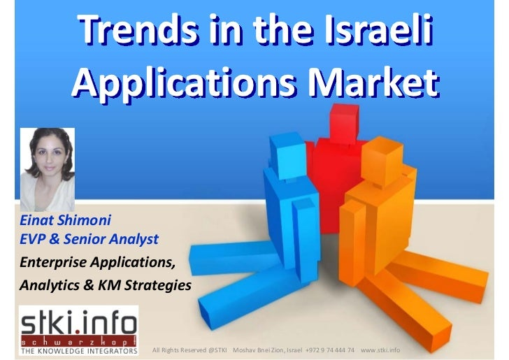 Trends in the Israeli         Applications Market  Einat Shimoni EVP  Senior Analyst Enterprise Applications,  Analytics  ...
