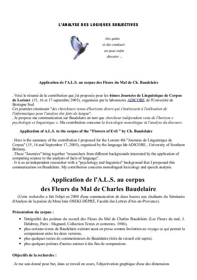 L'A N ALYS E D E S L O G I Q U E S S U BJE C TI V E S                 Application de lA.L.S. au corpus des Fleurs du Mal d...