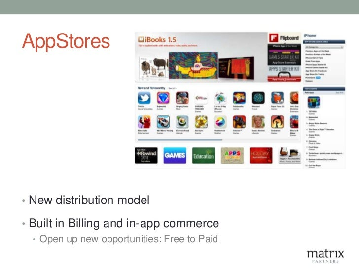 AppStores• New distribution model• Built in Billing and in-app commerce  • Open up new opportunities: Free to Paid