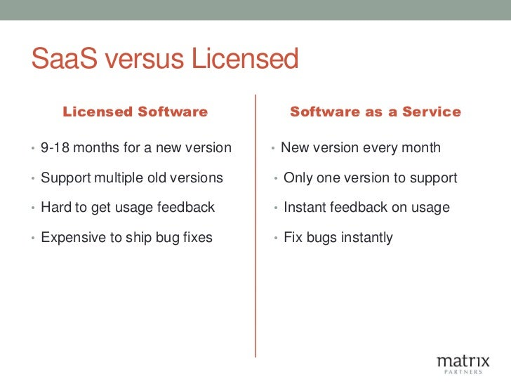 SaaS versus Licensed     Licensed Software              Software as a Service• 9-18 months for a new version   • New versi...