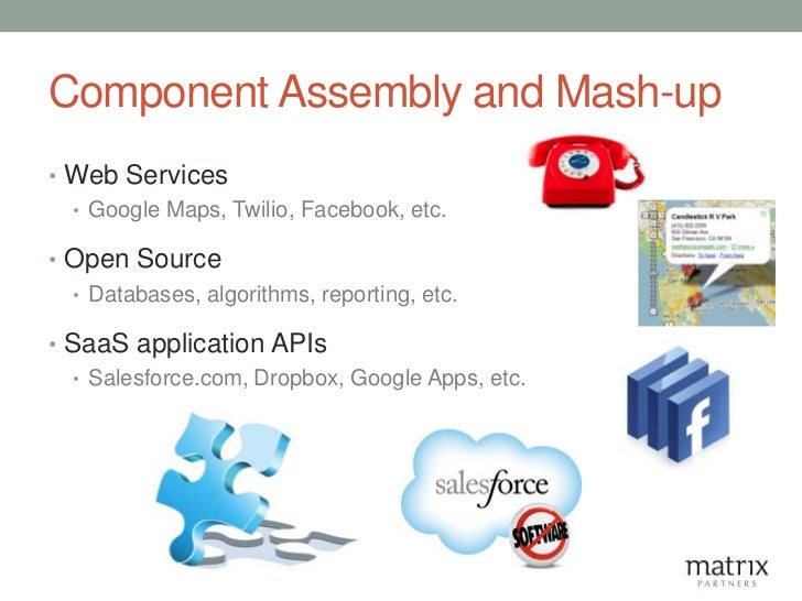 Component Assembly and Mash-up• Web Services  • Google Maps, Twilio, Facebook, etc.• Open Source  • Databases, algorithms,...
