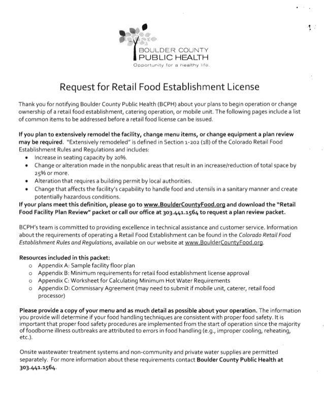 •  , . - (BOULDER COUNTY PUBLIC HEALTH Opport unit y fo r a n ea lt h y 1.8. Request for Retail Food Establishment Licens...