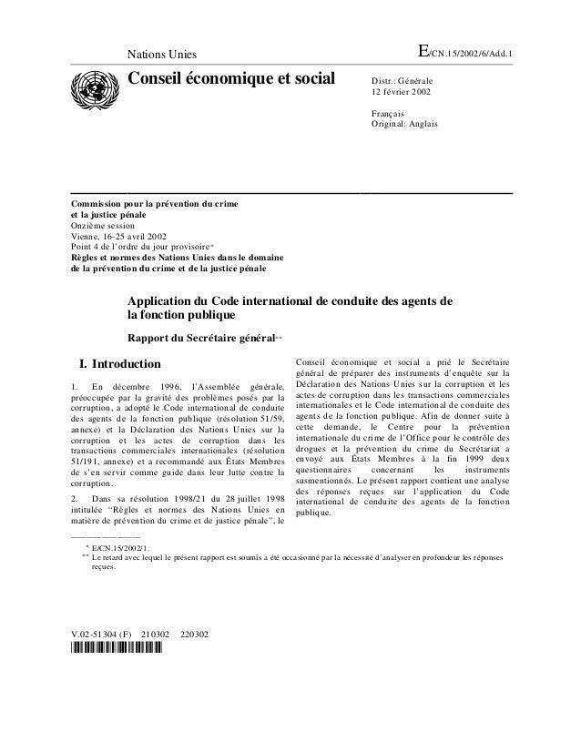 Nations Unies E/CN.15/2002/6/Add.1 Conseil économique et social Distr.: Générale 12 février 2002 Français Original: Anglai...