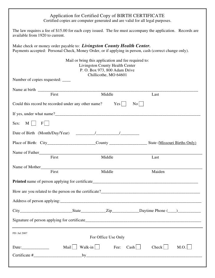 Application For Certified Copy Of Birth Certificat