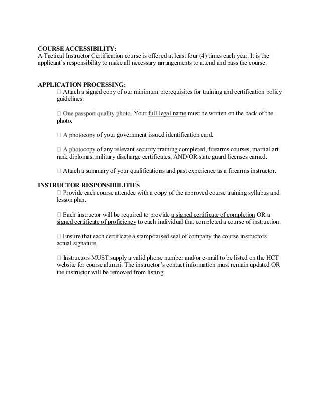 Application For Hct Instructor Certication