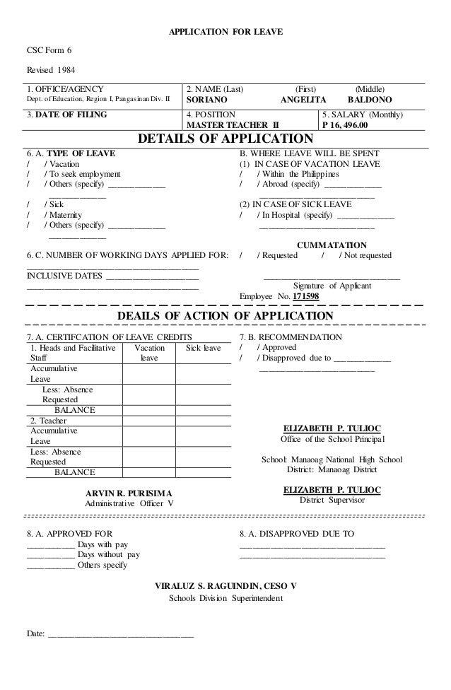 APPLICATION FOR LEAVE CSC Form 6 Revised 1984 1.  Application For Leave Form