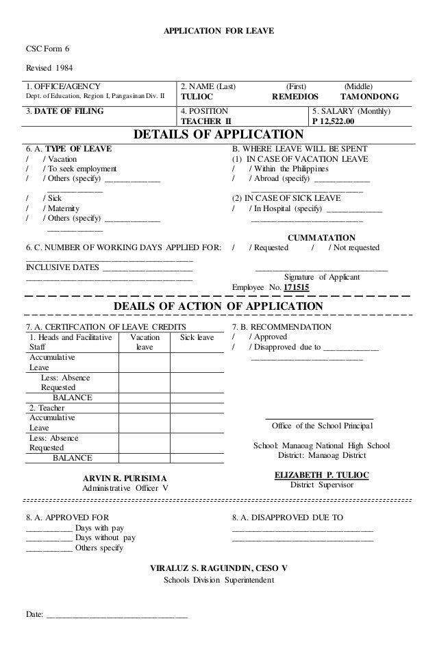 Application for leave – Application for Leave Form