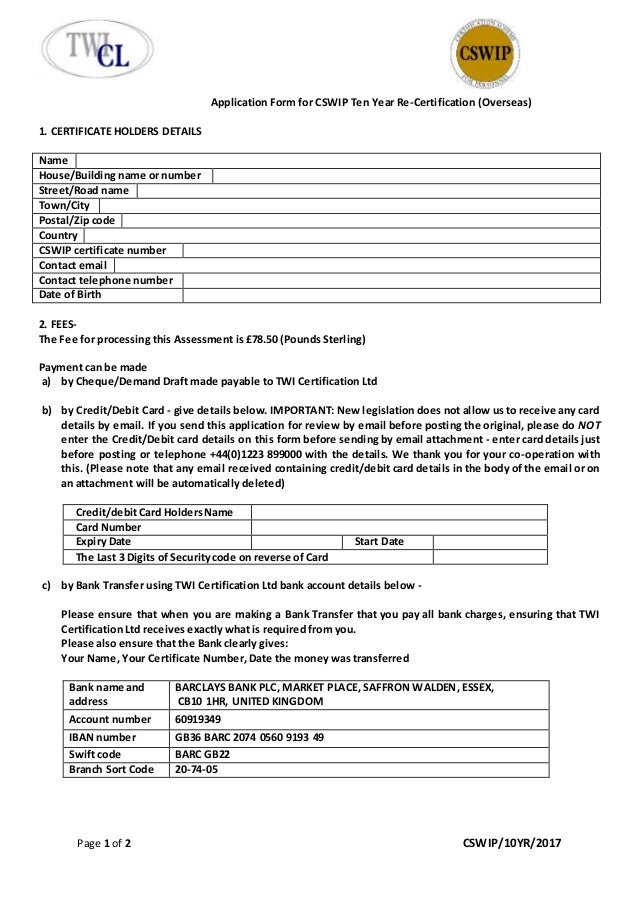 Application form for cswip 10 year re certification (overseas) with …