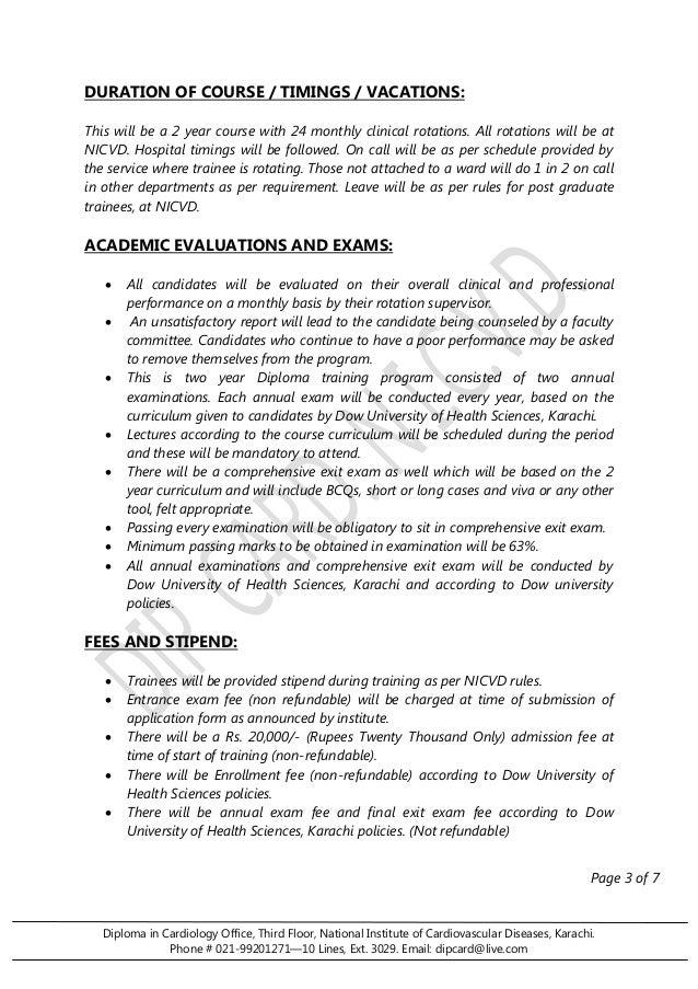 Diploma in Cardiology Office, Third Floor, National Institute of Cardiovascular Diseases, Karachi.  Phone # 021-99201271—1...