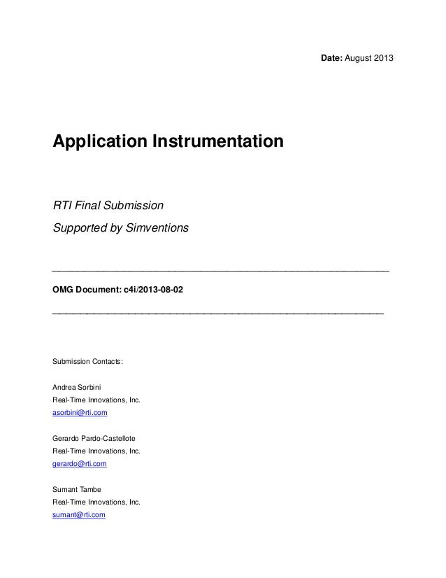 Date: August 2013 Application Instrumentation RTI Final Submission Supported by Simventions ______________________________...