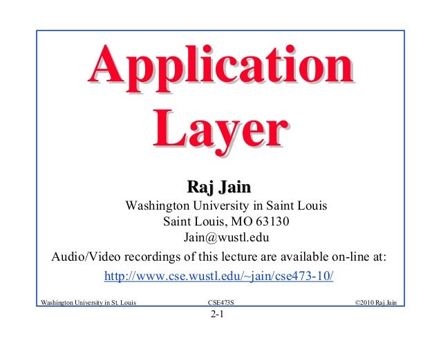 Application                  Layer                                     Raj Jain               Washington University in Sai...