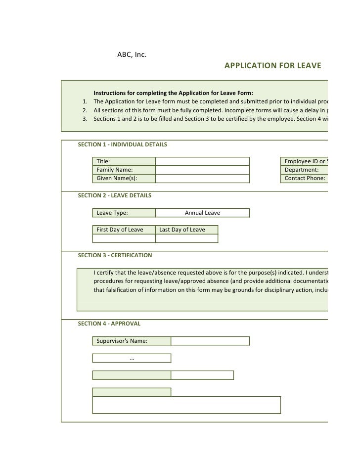 Application For Leave Form Application Leave Form Online