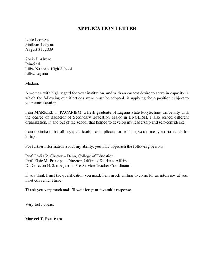 Application Letter Application Sample Sample