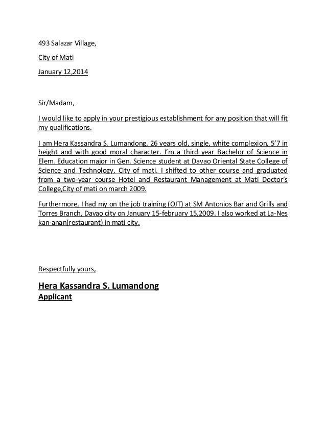 HRM OJT Application Letter