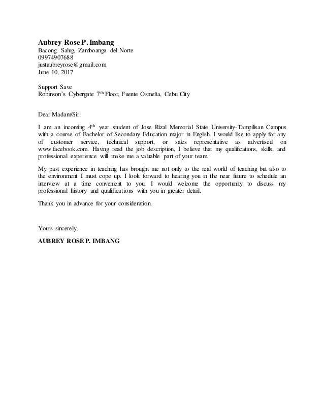Application Letter Sample