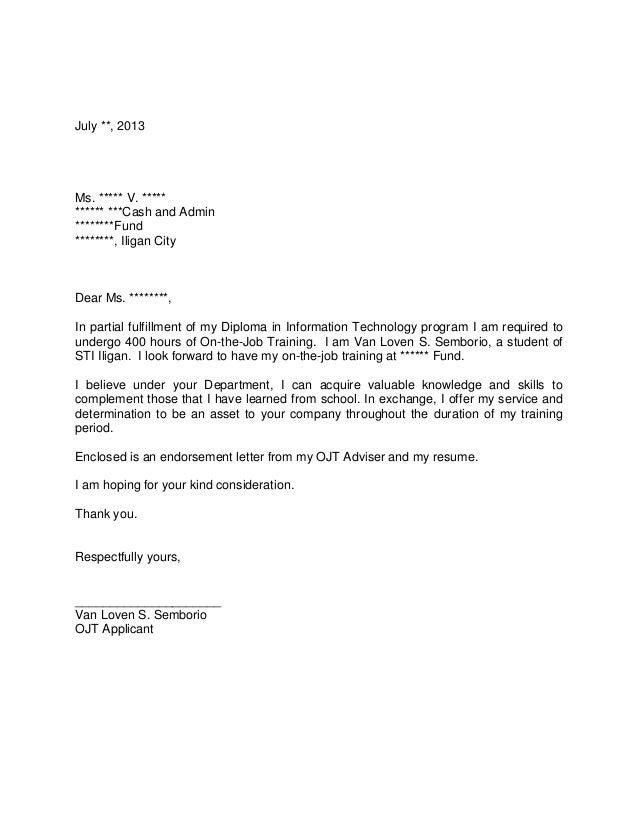 application letter for ojt bsba