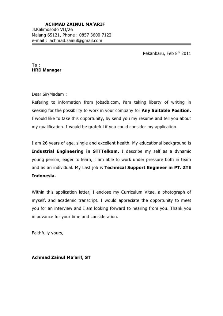 how to right a cover letter for a job application - application letter cv