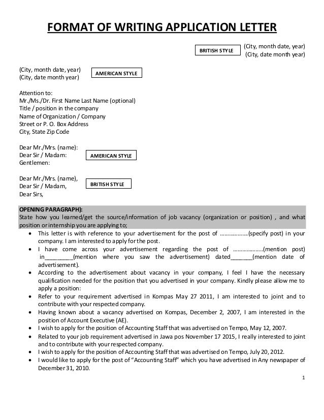 Application Letter and Curriculum Vitae