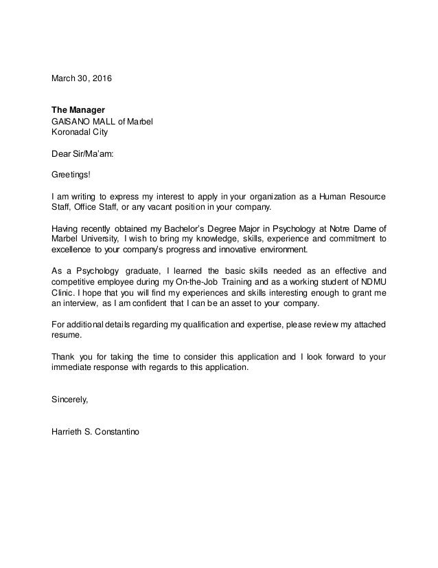 Application Letter With Resume Harrieth