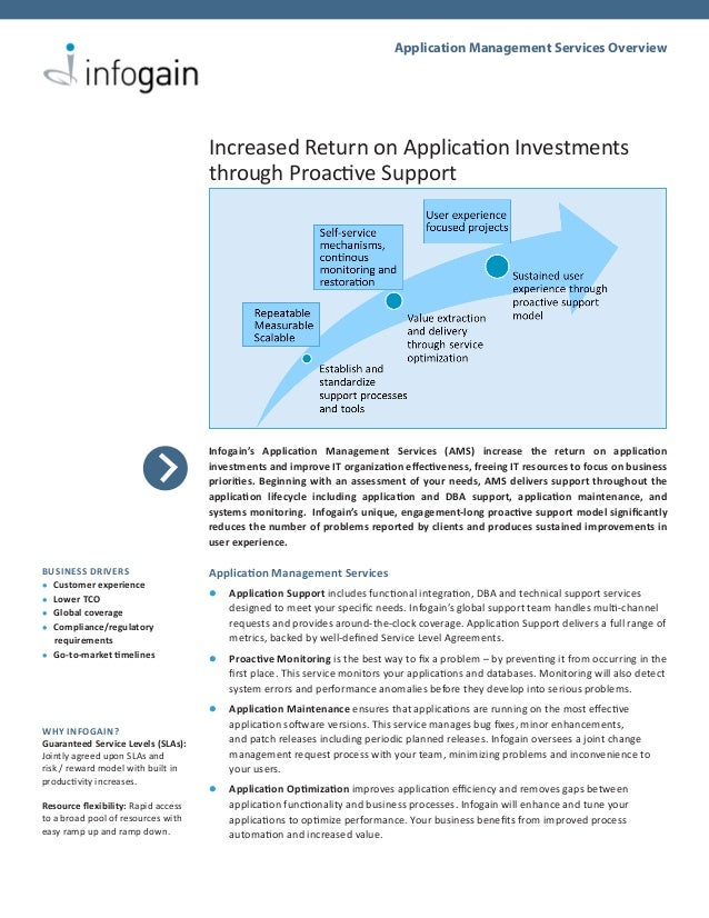 Application Management Services Overview                                     Increased Return on Application Investments  ...