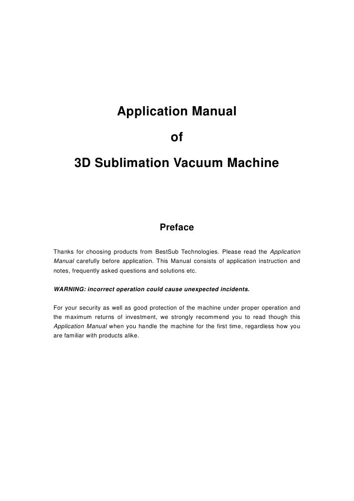 Application Manual                                         of       3D Sublimation Vacuum Machine                         ...