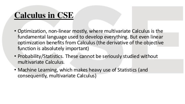 Application of calculus in cse