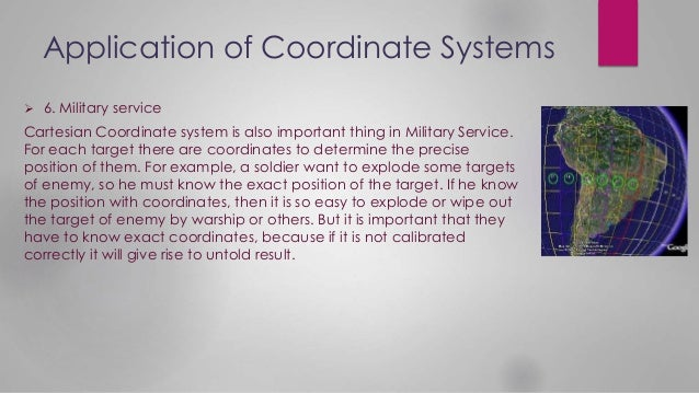 Application of Coordinate Systems  6. Military service Cartesian Coordinate system is also important thing in Military Se...