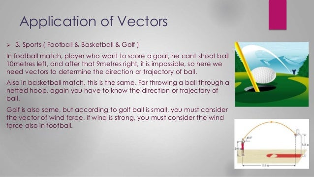 Application of Vectors  3. Sports ( Football & Basketball & Golf ) In football match, player who want to score a goal, he...