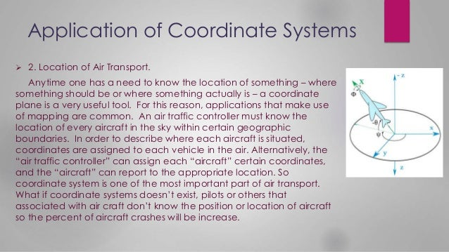 Application of Coordinate Systems  2. Location of Air Transport. Anytime one has a need to know the location of something...