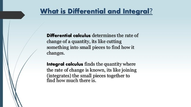 application of differential and integral