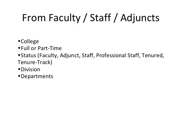 From Faculty / Staff / Adjuncts•College•Full or Part-Time•Status (Faculty, Adjunct, Staff, Professional Staff, Tenured,Ten...