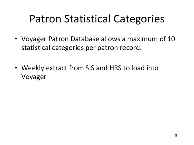 Patron Statistical Categories• Voyager Patron Database allows a maximum of 10  statistical categories per patron record.• ...