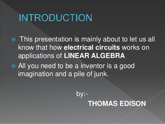 Application of linear algebra in electric circuit