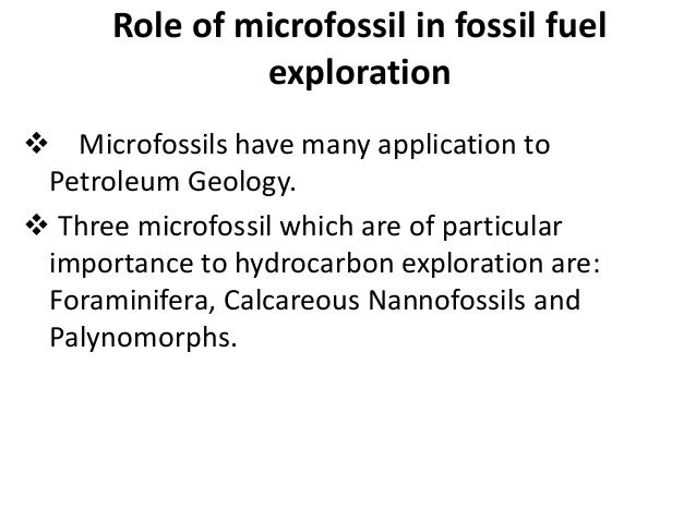 Application of microfossil in fossil fuel exploration