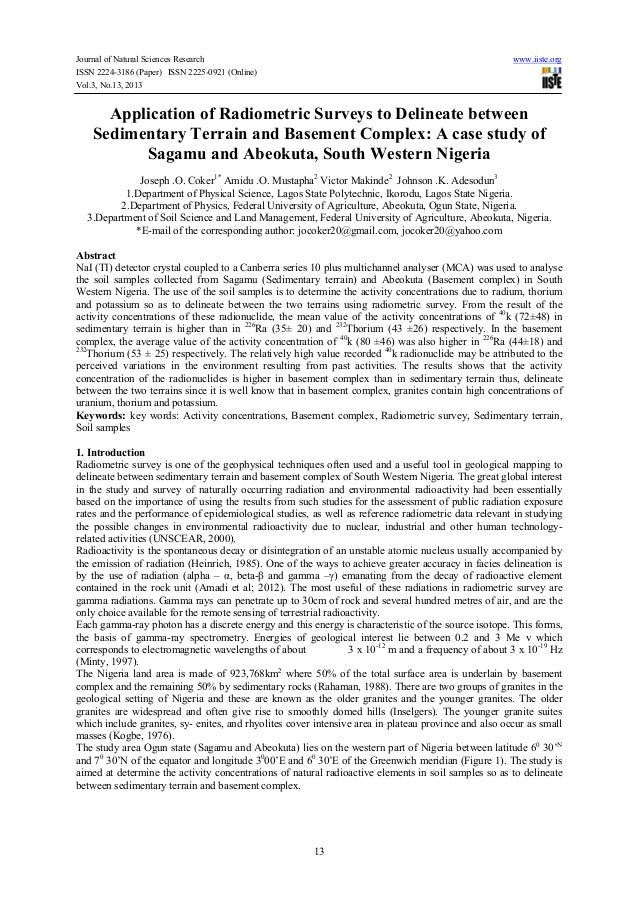 Journal of Natural Sciences Research ISSN 2224-3186 (Paper) ISSN 2225-0921 (Online) Vol.3, No.13, 2013  www.iiste.org  App...