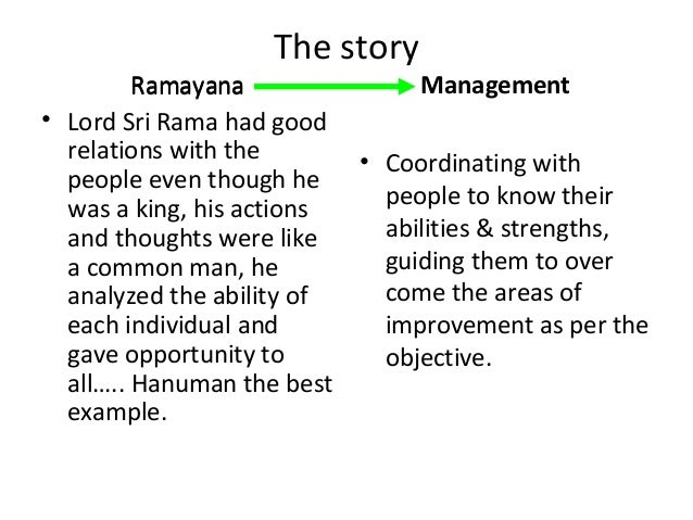 Application of ramayana to management principles