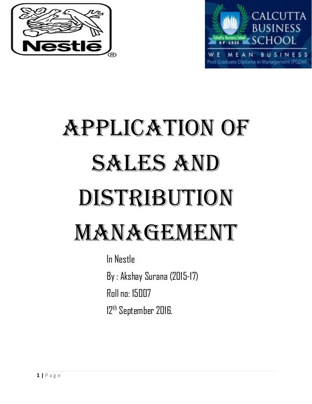caselet of sales and distribution management International journal of retail & distribution management volume list issue(s) available: 311 - from international journal of retail & distribution management.