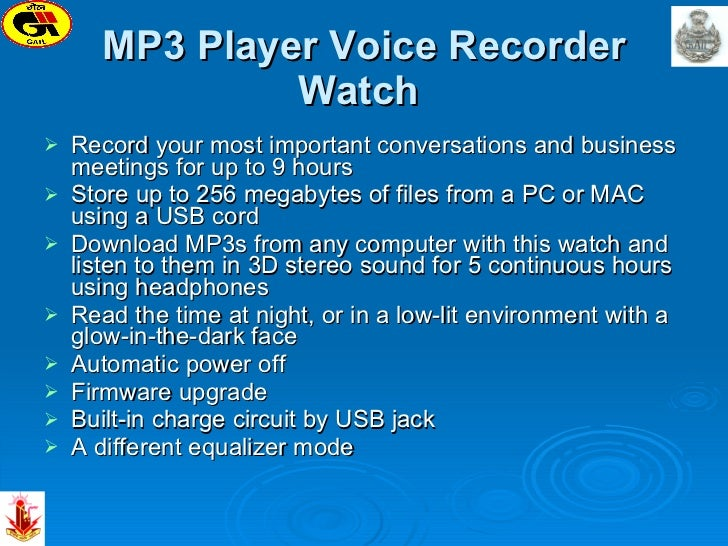 MP3 Player Voice Recorder Watch   <ul><li>Record your most important conversations and business meetings for up to 9 hours...
