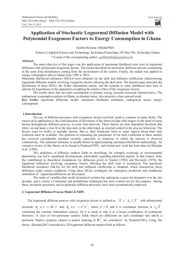 Mathematical Theory and Modeling ISSN 2224-5804 (Paper) ISSN 2225-0522 (Online) Vol.3, No.13, 2013  www.iiste.org  Applica...