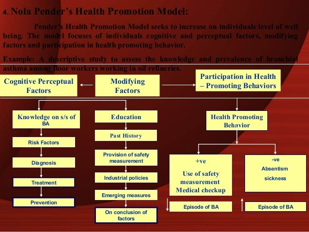 nola pender health promotion model The health promotion model notes that each person has unique personal characteristics and experiences that affect subsequent actions the set of.