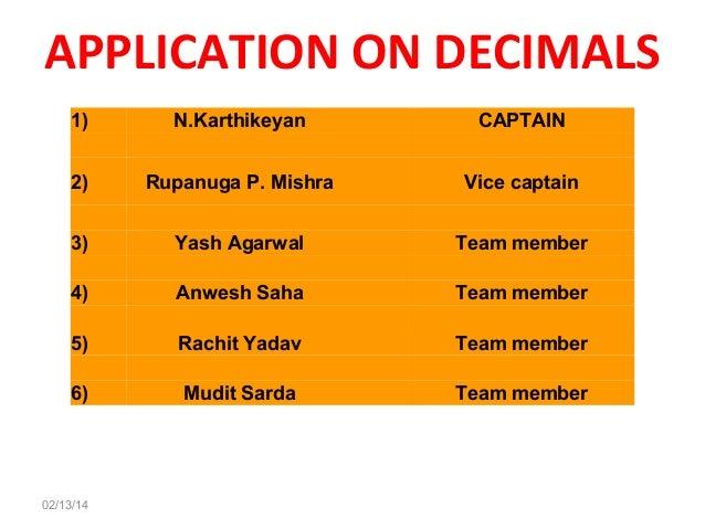 APPLICATION ON DECIMALS 1)   N.Karthikeyan      CAPTAIN   2)  RupanugaP.Mishra    Vicecaptain   3)  4)  5)  6...