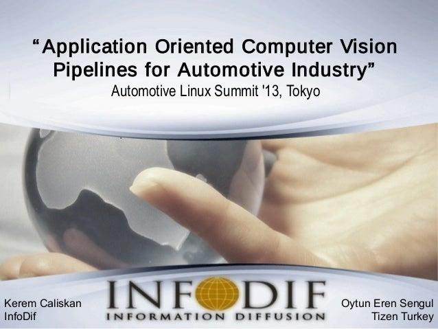 """ Application Oriented Computer Vision Pipelines for Automotive Industry"" Automotive Linux Summit '13, Tokyo Kerem Caliska..."