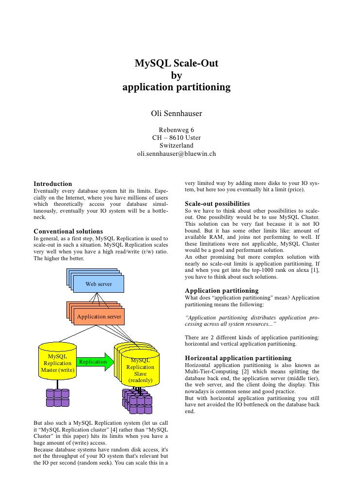 MySQL Scale-Out                                                  by                                       application part...