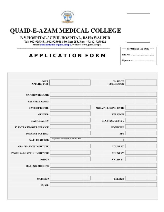 QUAID-E-AZAM MEDICAL COLLEGE B.V.HOSPITAL / CIVIL HOSPITAL, BAHAWALPUR Tel: 062-9250431, 062-9250411-30 Ext: 255, Fax: +92...
