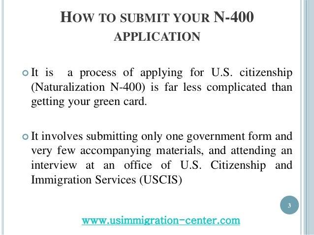 Application procedure for US Citizenship through Naturalization