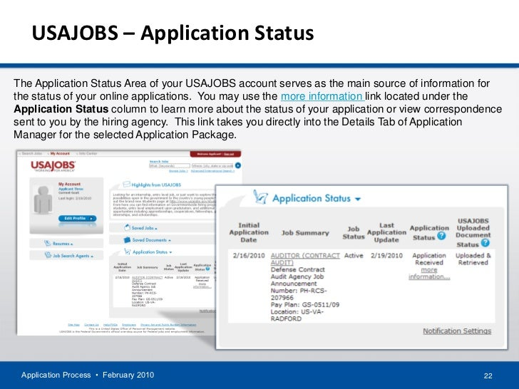 application process february 2010 21 22 usajobs application statusthe application status